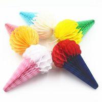 10 pcs lot Tissue Lanterns Birthday Wedding Party Decorations Paper Flower For Home Garden Ice Cream Shape Honeycomb Decor KYSB G1ZJ