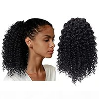 Curto Afro Kinky Curly Curly Drawstring Extensão Humana para Mulheres negras Afro Drawing Curly Curly Clips para mulheres Natural Black # 1b