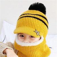 Niños de tejer Mantener un sombrero cálido Niño Peluche de peluche Guardia Bufanda de invierno Raya de bola de pelo Tapa de pico grueso Gorra de alta calidad 13 9JH F2