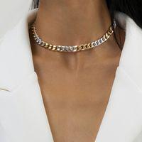 Minimaliste Or / Argent Couleur d'asymétrie Collier de cou de cou pour femme Steampunk Metal Chunky Charm Colliers Bijoux Cadeaux