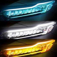 2x 2021 최신 스타트 스캔 LED 자동차 DRL 낮 주행 조명 자동 흐르는 턴 신호 가이드 얇은 스트립 램프 스타일링 액세서리