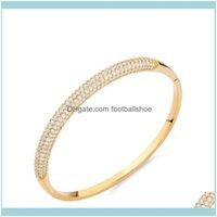Bangle Bracelets Jewelrydesigners Jewelry Sparkle Bracelet Inlaid With Aaa Zircon Drop Delivery 2021 Hfemc