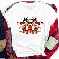 Deer Damskie Topy Szczęśliwy Czas Cartoon Odzież Wakacje Koszulki Dla Kobiet Lady Wesołych Świąt Print Tshirt Ubrania Top Graficzna Kobieta