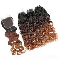 Wet Wavy # 1b 4 30 Auburn Ombre Brazilianer Jungfrau Menschliches Haar 3bundles mit Verschluss Wasserwelle 3Tone Ombre 4x4 Spitzeverschluss mit Gewebe
