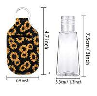 Sanitizer Holder Neoprene Hand Sanitizers Bottle Party Favor Lipstick Lip Cover Handbag Keychain Printing Chapstick 30ml NHE6419