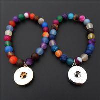 Charm Bracelets Rainbow Stone Stretch Stacking Bracelet 18mm Metal Snap Button Dangle 8mm MaColors Ball Moonstone Planet Orbs 12 PCs