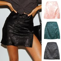 Sexy Short Mini Skirt With Slit Women High Waist A-Line Satin Jacquard Female Office Lady Elegant Black Pink Green Skirts