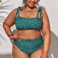 Women's Swimwear Dots Print Women Plus Size Bikini Push Up Padded Bandeau Tied Shoulder Bathing Suit Large High Waist Swimsuit 4XL