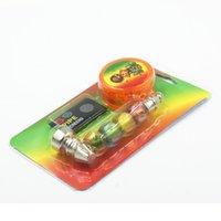 Kit de tuyau en métal Kit de tabac Pochette Jamaïque Bob Bob Perles colorées Fumer des tuyaux d'herbe avec des écrans de moulin en plastique Mesh Filtre Mesh Combo