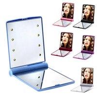 LED maquiagem espelho cosméticos 8 LEDs dobrando espelhos quadrados portáteis de bolso quadrado para mulheres menina mini beleza maquiagem wll466