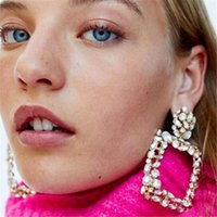 Brand Crystal Square Drop Earring For Woman Vintage Europe Boho Dangle Earrings Jewelry Statement Accessories Brincos & Chandelier