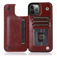 Luxury PU Leather Phone Cases for iPhone 13 12 11 Pro Max Wallet Case XR Xs SE Back Kickstand Card Bag portable Retro pure color Fall protection cover