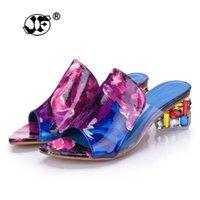 Kleid Schuhe Karin 2021 Marke Große Größen 41 Elegante Kristalle Chunky Heels Sommer Frauen Frau Sandalen Freizeit Hausschuhe 156