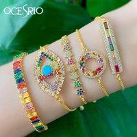 Charm Bracelets Gold Evil Eye Bracelet Women CZ Rainbow Turkish Blue Adjustable Girls Jewelry Ojo Turco Brt-b56