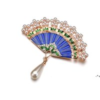 Chinese Style Fan Metal Jewelry Gifts Women Brooches for the New Year Gift Cloth Decoration NHE9515