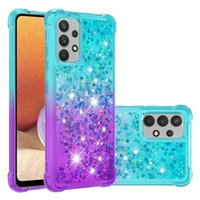 Shockproof Gradient Liquid Quicksand Glitter Back Phone Cases For Samsung Galaxy A12 M12 F12 M31 F41 A52 A72 A42 S20 FE S21 Plus Note 20 Ultra Anti-knock TPU Cover