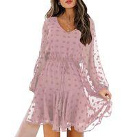 Casual Dresses Women Chiffon Dress Polka Dot Lace Long Sleeves V Neck Flowy Mini Loose High Waist Drawstring Office Lady