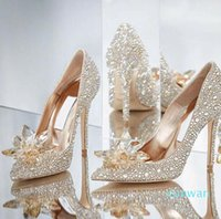 Top Grade Cinderella Crystal Shoes Luxury Bridal Strass Shoes Shoes With Flower Genuine Pelle Party Prom Scarpe con scatola Plus Size
