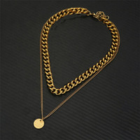 Chains Punk Hip Hop Cuban Link Neck For Women Men Jewelry Thick Gold Color Stainless Steel Collar Choker Necklace Chain