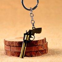 Designer Spiel Zinklegierung Schlüsselanhänger Party Favor Männer Frauen Revolver Simulation Pistole Modell Auto Schlüsselanhänger Ring Tasche Anhänger Auf Lager