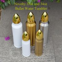 500 ml 1000 ml Süblimasyon Tumbler Bullet Şekli Paslanmaz Çelik Su Şişeleri Yalıtımlı Tumblers Vakum Şişeleri Ev Seyahat Kupası Kahve Fincanları Express