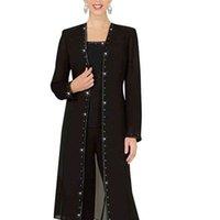 Designer 3 Piece Mother Chiffon Pant Suits Mother Of The Bride Pant Suits with Long Jacket vestidos de fiesta Elegant Evening Party Wear