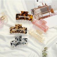 Griffes de cheveux en acétate géométrique Grand Crabs carrés Clip Pince à grains léopard pour femmes Accessoires de tête DWB5862