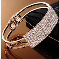 Tennis 2021 Fashion Elegant Bride Wedding Crystal Bracelet Shiny Star Wide And Temperament Rhinestone Ladies