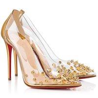 Collaclou de luxe Sandales de femmes Sandales Femmes PVC Spikes Pumps Golden Sliver Lady High Heel High Heels Designer Marques Dames Fête Robe avec boîte Eu35-43