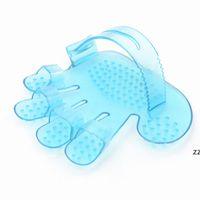 애완 동물 정리 샤워 브러쉬 빗 목욕 마사지 손 모양의 장갑 빗 블루 핑크 애완 동물 플라스틱 브러쉬 청소 hwe8547