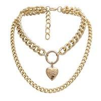 Vintage kreative Herz geformte Halskette der anhängende Schmuck eröffnete doppelte Klinkkette geometrische Halsketten für jugendlich Mädchenketten