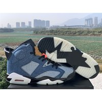 Newest 6 Blue Washed Denim Varsity Red Black Men Basketball Sneakers 6s cowboy jeans mens Sports Shoes With Box CT5350-401