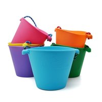 Silicone Pass Bag Bath Toys Folding Hand Children Baby Beach Sand Play Water Pour Toy Color Bucket