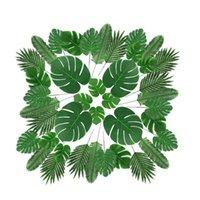 장식 꽃 화환 72 PC 6 종류 인공 팜 잎 가짜 몬스터 잎, 줄기 열대 식물, 하와이에 대한 시뮬레이션