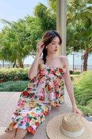 الحلو الأزهار طباعة حمالة الأعلى + تنورة مستقيمة النساء 2 قطع دعوى القوس منزعج المطبوعة البلوزات الزي الركبة طول مجموعة 210525
