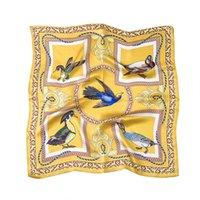Täglich täglich lässig seide schal frauen necker gelb quadrat 53 cm blume vogel druck weibliche sex dekorieren kopf