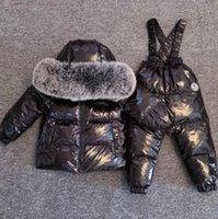 الأطفال البدلة التزلج -30 درجة الشتاء أطفال snowsuit بطة أسفل سترة لفتاة للماء عموما معطف بذلة الأولاد دافئة قميص Y1117