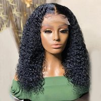 Lace Wigs Jet Black Kinky Curly Front Human Hair For Women 360 Frontal Silk Base PrePlucked Peruvian Remy 200%