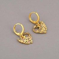 Hoop & Huggie 1 Pair Rainbow Pave Zircon Circle Earrings Dainty Geometric Mini Piercing Earring For Women Girls Boho Jewelry Gifts