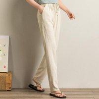 Female Summer Cotton Linen Pants Pencil Girls Loose Slim Trousers Women Casual Lace Up Capri Women's & Capris