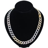 Chains Luxury Three Color Tone Bling CZ Rhinestone Cuban Link Chain Necklaces For Men Punk Hip Hop Choker Necklace Jewelry Collars