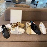 Tasarımcı Kadınlar Rulo Casual Ayakkabılar Kadın Sneakers Bayanlar Parti Kadife Dalfskin Karışık Fiber Trainer Su Dalgalanma Yuvarlak Toe Sneaker Kutusu
