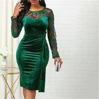 여성 메쉬 슬리브 드레스 패션 트렌드 긴 소매 라운드 넥 캐주얼 바디 콘 드레스 디자이너 여성 슬림 수 놓은 미디 스커트