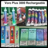 100% original Voro Plus Dispositivo de cigarrillo vapeable recargable VAPE EXC con rgb luz 650mAh batería 4.8ml cartuchos Preumente 3300 Puffs Kit de vapes brillantes