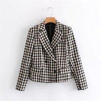 Women's Jackets Vintage Stylish Loose Plaid Commute Jacket Coat Women Vogue Lapel Collar Long Sleeve Chic Top