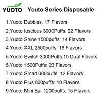 100% Original Yuoto Series 1500Puffs XXL 2500 Switch Dual Luscious 3000Puffs Smart 600 Puffs Plus 800 bubblor Uppladdningsbar Mini Bar Shine 1500 Puff Endosables Vape