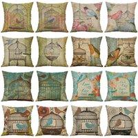 Decor Pillow 18'' Cushion Cotton Linen Sofa Case Cover Throw Birdcage Home Cushion Decorative