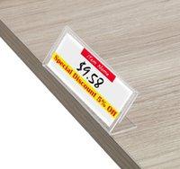 Akrilik t 3x8 cm 1.5mm Temizle Plastik Masa Işareti Etiket Ekran Kartı Etiket Standı Kağıt Tutucular Tag Fiyat Çerçevesi Çerçeve Tutucu ACRY