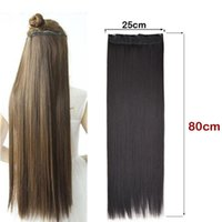 Perucas sintéticas Jeedou mais 80cm 32 polegadas clipe de cabelo em uma peça alongamento natural de cor preta invisível