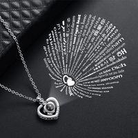 Ich liebe dich 100 Sprachen Projektion Halskette Frauen Kupfer Herz Anhänger Halsketten Gedächtnisprojektion Neckketten Modeschmuck